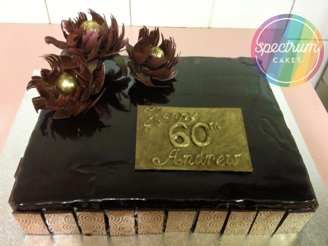 Chocolate hazelnut slab, with chocolate flowers and panels