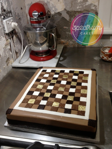 Brown and gold quilt cake