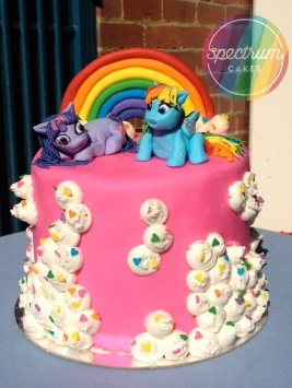 My Little Pony cake, with rainbow gluten/dairy free sponge