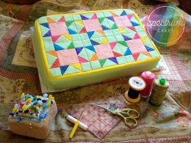 Bright colours quilt cake.