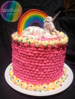 Rainbows and Unicorn cake (cake inside was also vanilla rainbow cake